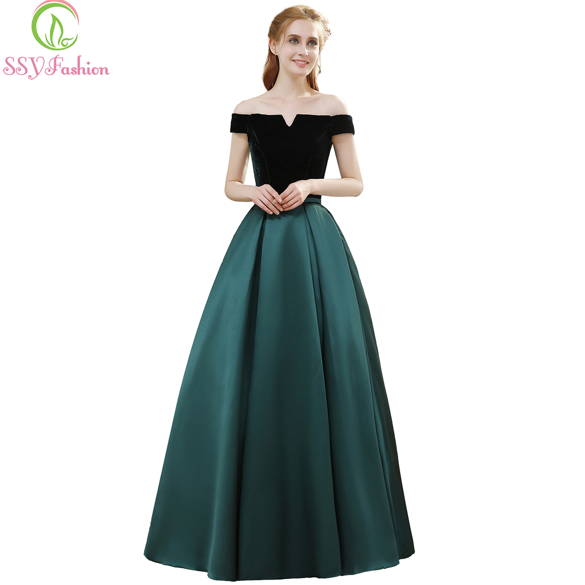 SSYFashion Banquet Simple Elegant Evening Dress Bride Boat Neck Velvet with Satin Vintage Long Prom Formal Gown Robe De Soiree