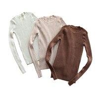Women Basic Tops Long Sleeve Knitwear Rib Pullovers XR C1812