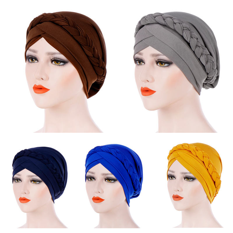 Muslim Women Solid Cross Silk Braid Turban Hat Scarf Cancer Chemo Beanie Cap Hijab   Headwear   Head Wrap Hair Accessories