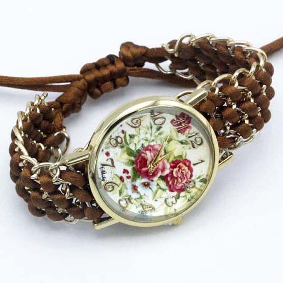 shsby nya Ladies Flower hand-stickade armbandsur guld kvinnor - Damklockor - Foto 6