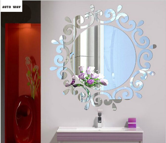 3D stereoscopic wall stickers Toilets Entrance ceiling Decorative mirror stickers Instead of the mirror plastic mirror