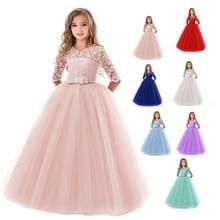 High Quality Party Dress Girls Red Lace Long Tulle Elegant Princess Dress Children Wedding Clothing Girls Summer Dress Costume недорого