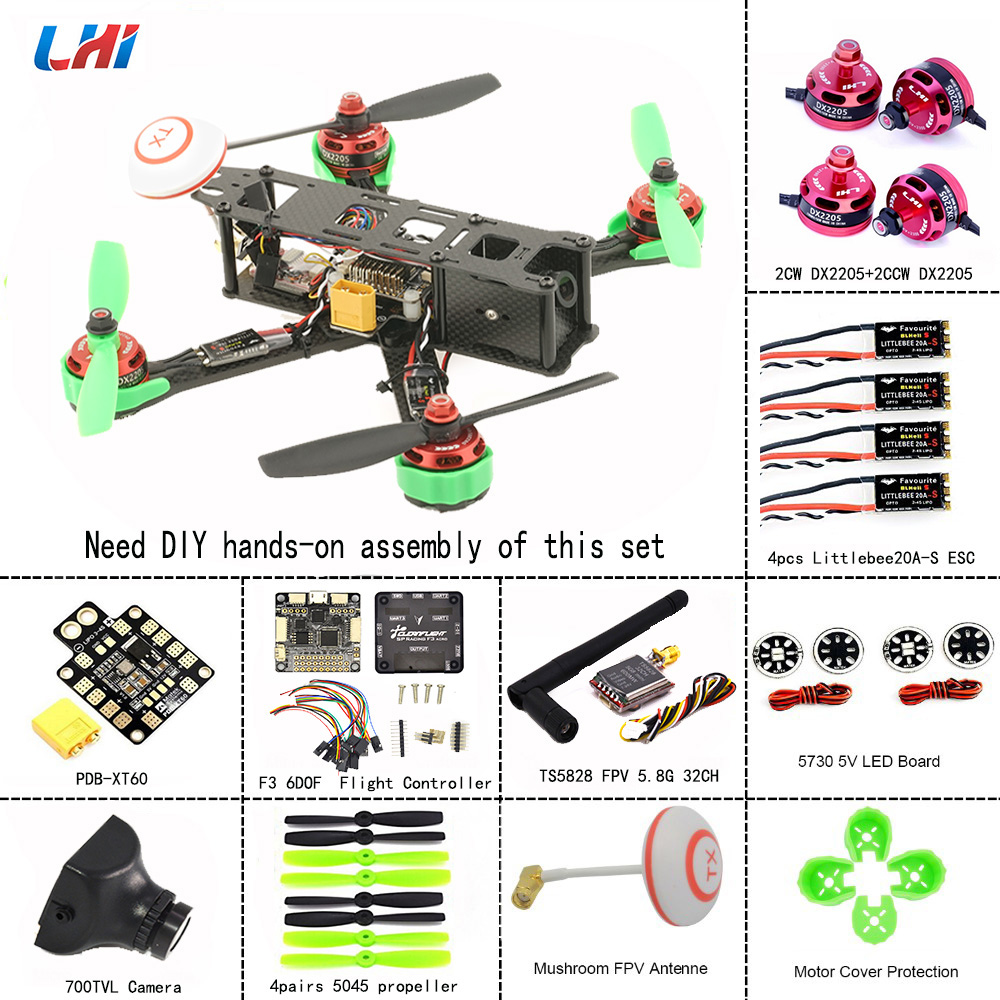 LHI RC drone frames 220 Quadcopter Full Carbon Frame Kit+DX2205 2300KV Brushless Motor+ 5045 propellers + Littlebee 20A Mini ESCLHI RC drone frames 220 Quadcopter Full Carbon Frame Kit+DX2205 2300KV Brushless Motor+ 5045 propellers + Littlebee 20A Mini ESC