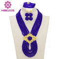 African Jewelry Sets Royal Blue Nigerian Wedding Beads Fashion Jewelry Set 2017 Chunky Jewelry Set Free Shipping WB053