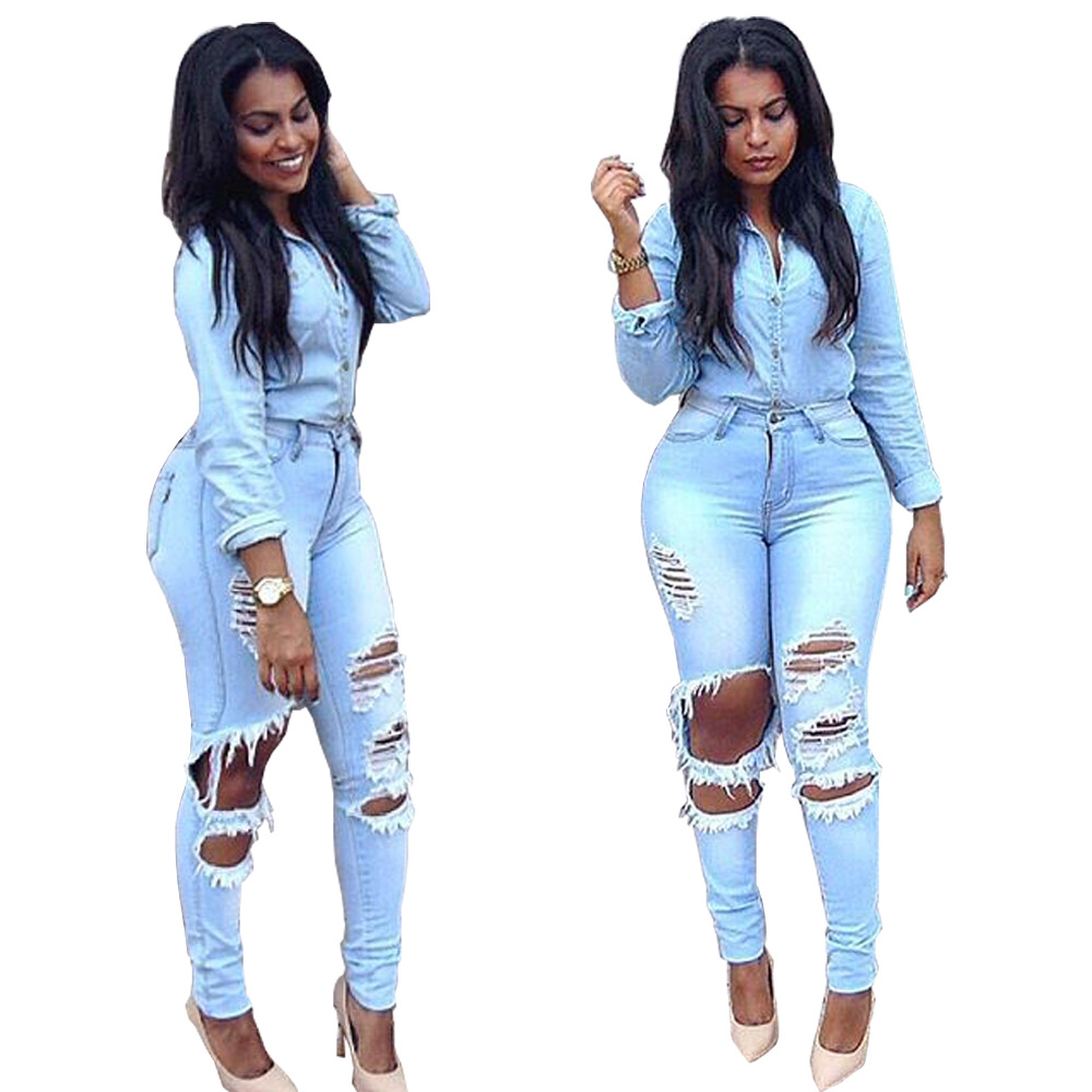 2019 Spring Summer Women Ripped Hole Skinny High Waist Light Blue Denim Jeans Stretch Slim Pencil Pants Plus Size