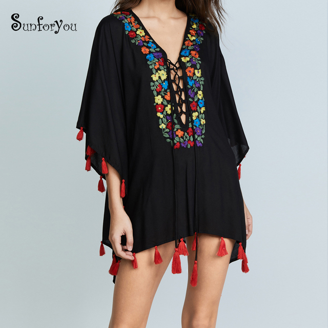 118d5365e97 Black Embroider Beach Cover up Tassel Tunic for Beach Pareo Playa Sarong  Swimsuit Women Plus size Swimwear Cover up 2018 dress