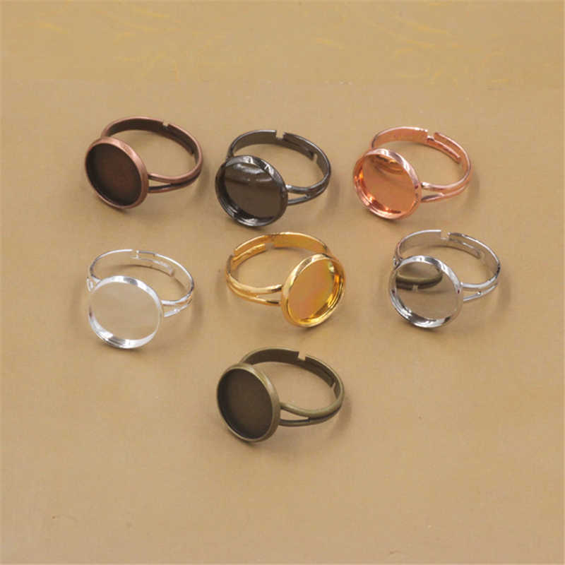 20 Pieces Ring Blanks with 10mm Flat Adjustable Ring Base Jewelry Findings Cabochon Settings for Handmade Finger Rings Bronze