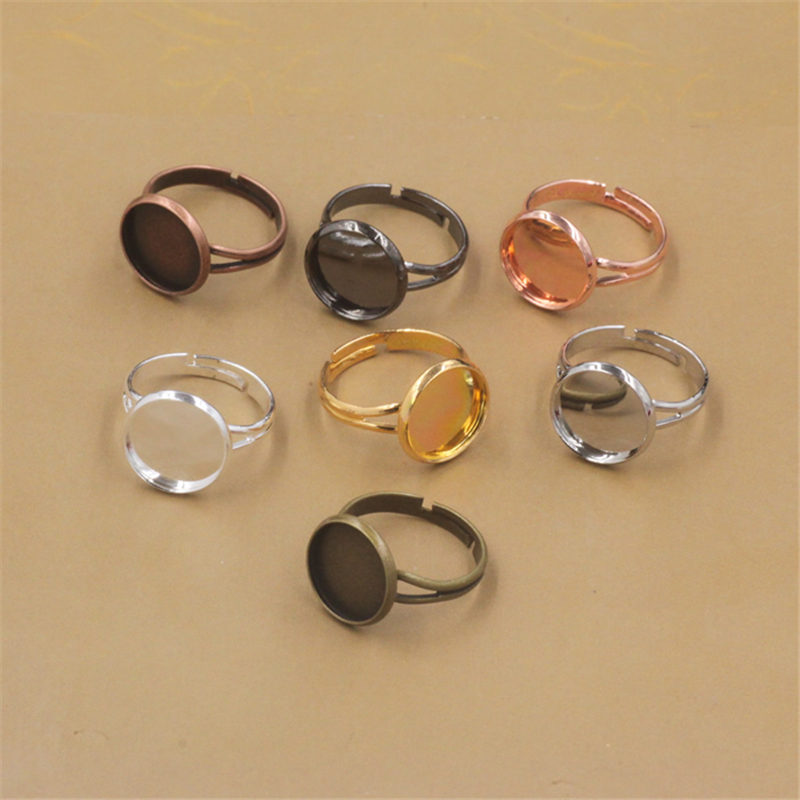 20pcs/lot 10mm/12mm Ring Settings Cabochon Base Bezel Tray Blank for Cabochon Cameo DIY Fashion Rings Adjustable Ring Base mibrow 10pcs lot stainless steel 8 10 12 14 16 18 20mm blank french lever earring tray cabochon setting cameo base jewelry