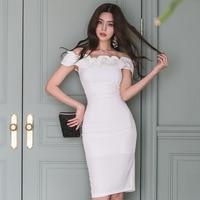 Slash Neck White Evening Party Dress for Ladies Casual Summer Dress 2019 Vestidos Short Sleeve Sheath Split Bandage Women Dress