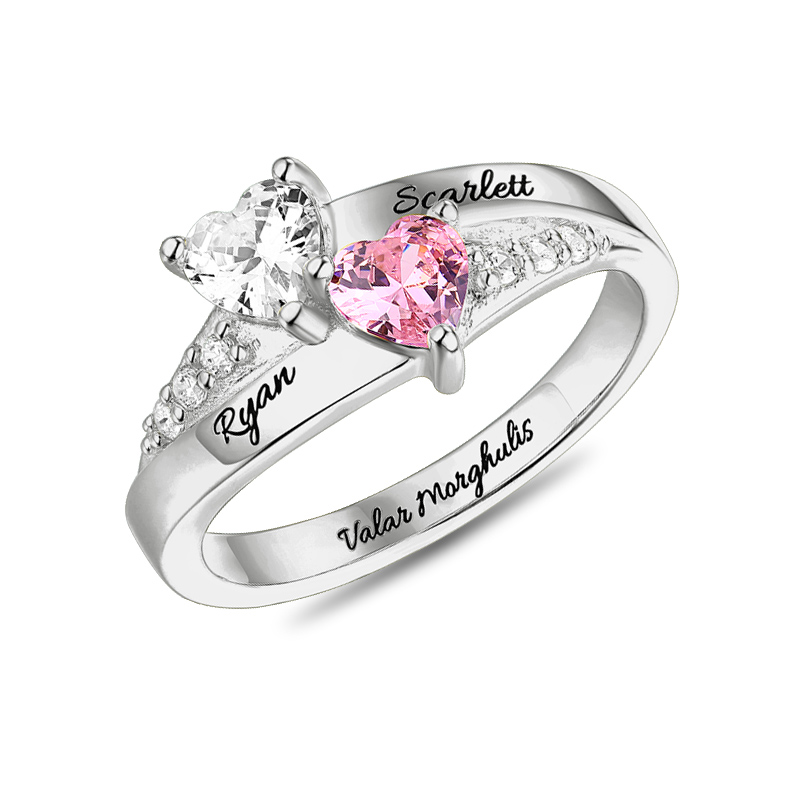 AILIN Personalized Women Promise Birthstone Ring For Her Engraving Two Names Ring Female Double Birthstone Rings