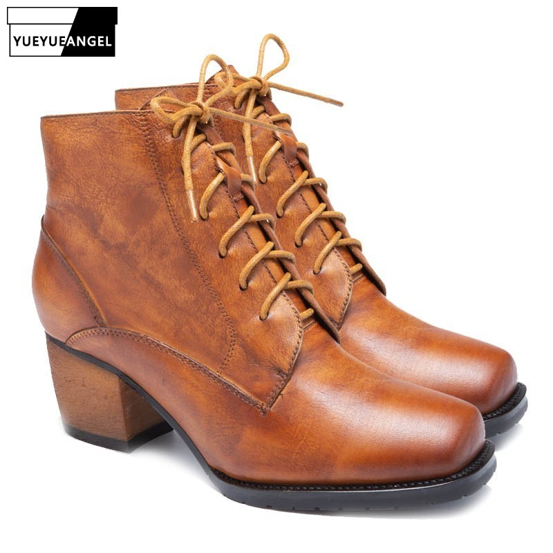 Vintage Genuine Leather  Boots 2019 New Autumn Winter Casual Lace Up Zipper Woman Footwear Comfortable Thick Heels ShoesVintage Genuine Leather  Boots 2019 New Autumn Winter Casual Lace Up Zipper Woman Footwear Comfortable Thick Heels Shoes