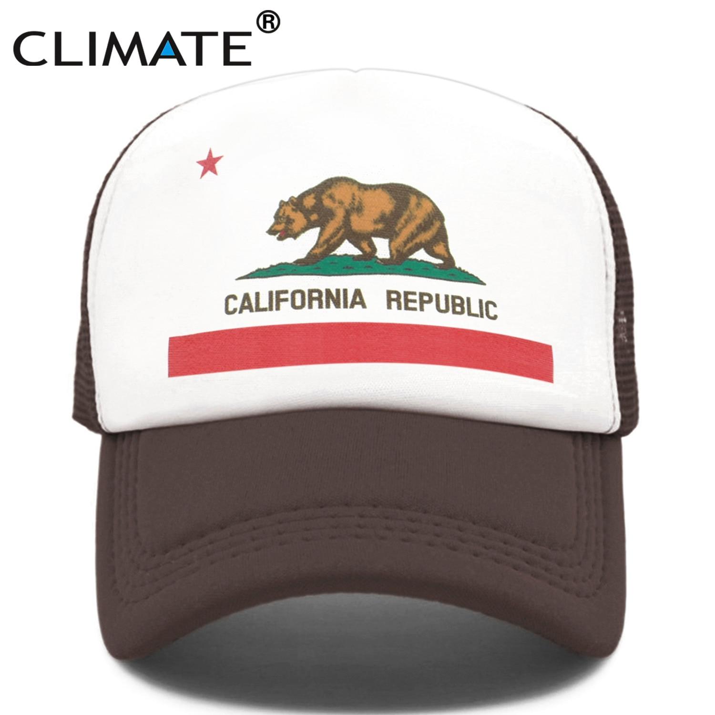 CLIMATE California Trucker   Cap   Men Bear California Republic Flag   Caps   Women Funny Hip Hop Hat   Baseball     Cap   Cool Summer Mesh   Cap