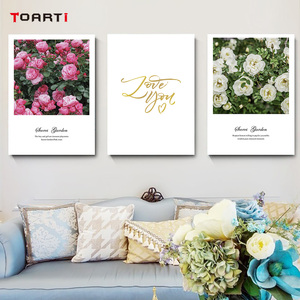 Image 5 - Nordic Flowers Posters Prints Pink Roses Canvas Painting On The Wall Love Quotes Art Pictures For Living Room Home Decoration