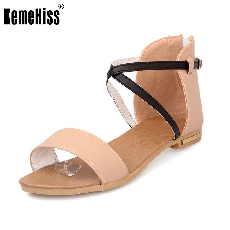 Women Flat Sandals Zipper Shoes Women Flat Bohemia Casual Beach Shoes Ladies Gladiator Zapatos Mujer Footwear Size 34-39 PA00286 2016 new women sandals bohemia bowknot ankle wrap flat sandals brand fashion ladies footwear shoes large size 34 39