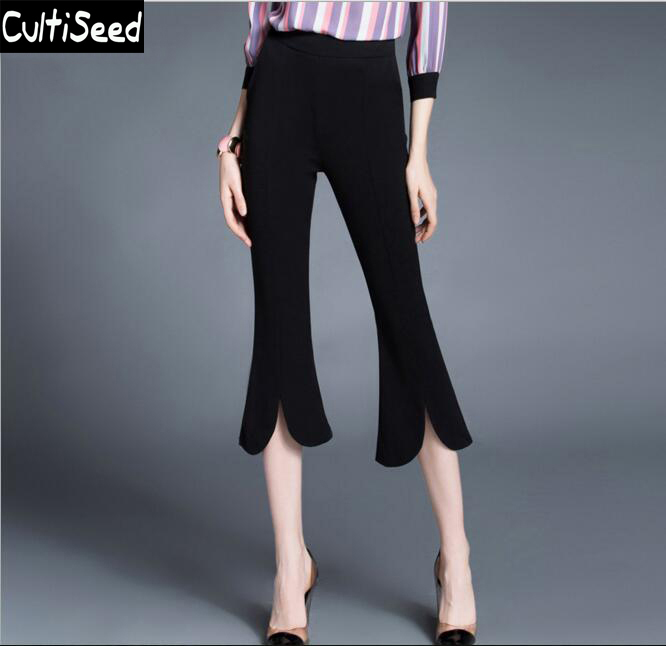 Vintage Office Work Stretch Calf Length Slacks Pants Women Black Elastic Waist Slim Trousers Pants Capris with S-2XL Size