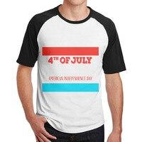 Temmuz Kırmızı Beyaz ve Mavi Amerika özgürlük t gömlek Klasik erkek guys tasarım Raglan