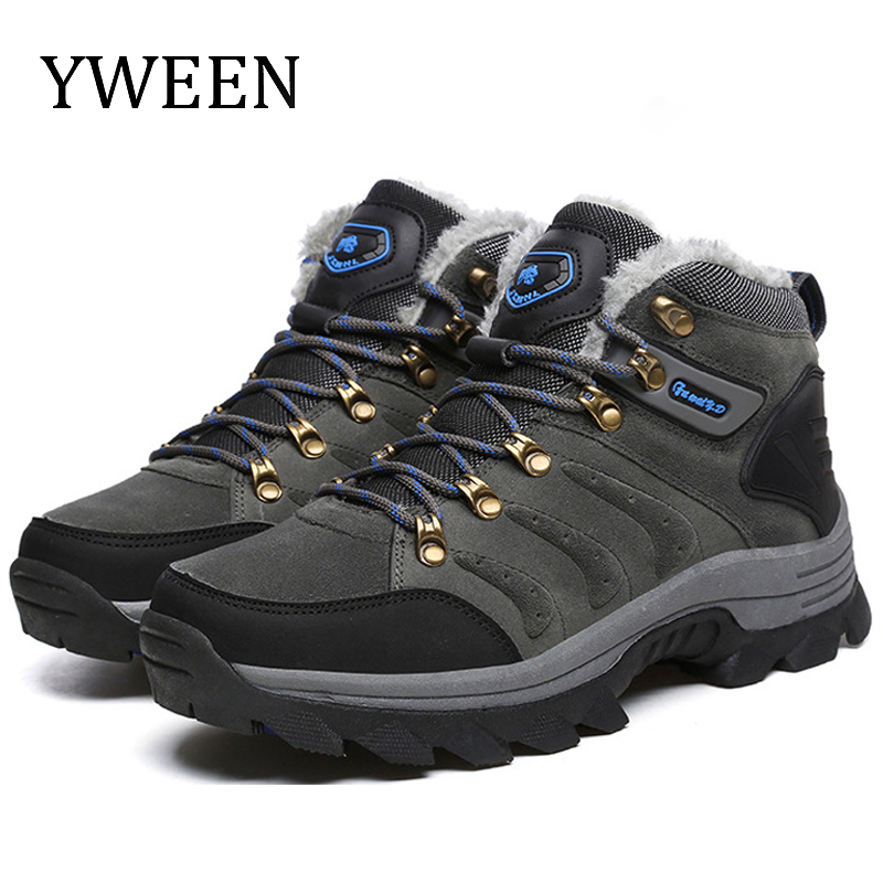 YWEEN Mens Boots 2019 Outdoor Spring Men Leather Warm Fur&Plush Lace Up Winter Snow High Top Fashion Shoes