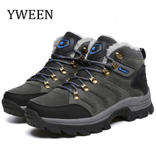 купить YWEEN Mens Boots 2019 Outdoor Spring Men Leather Boots Warm Fur&Plush Lace Up Men Winter Snow Boots High Top Fashion Men Shoes дешево