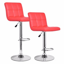 Goplus Set of 2 Pieces Bar Stools PU Leather Adjustable Barstool Modern Hydraulic Swivel Pub Chairs Black Red Furniture HW55650(China)