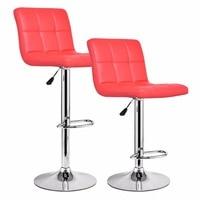 Goplus Set Of 2 Pieces Bar Stools PU Leather Adjustable Barstool Modern Hydraulic Swivel Pub Chairs