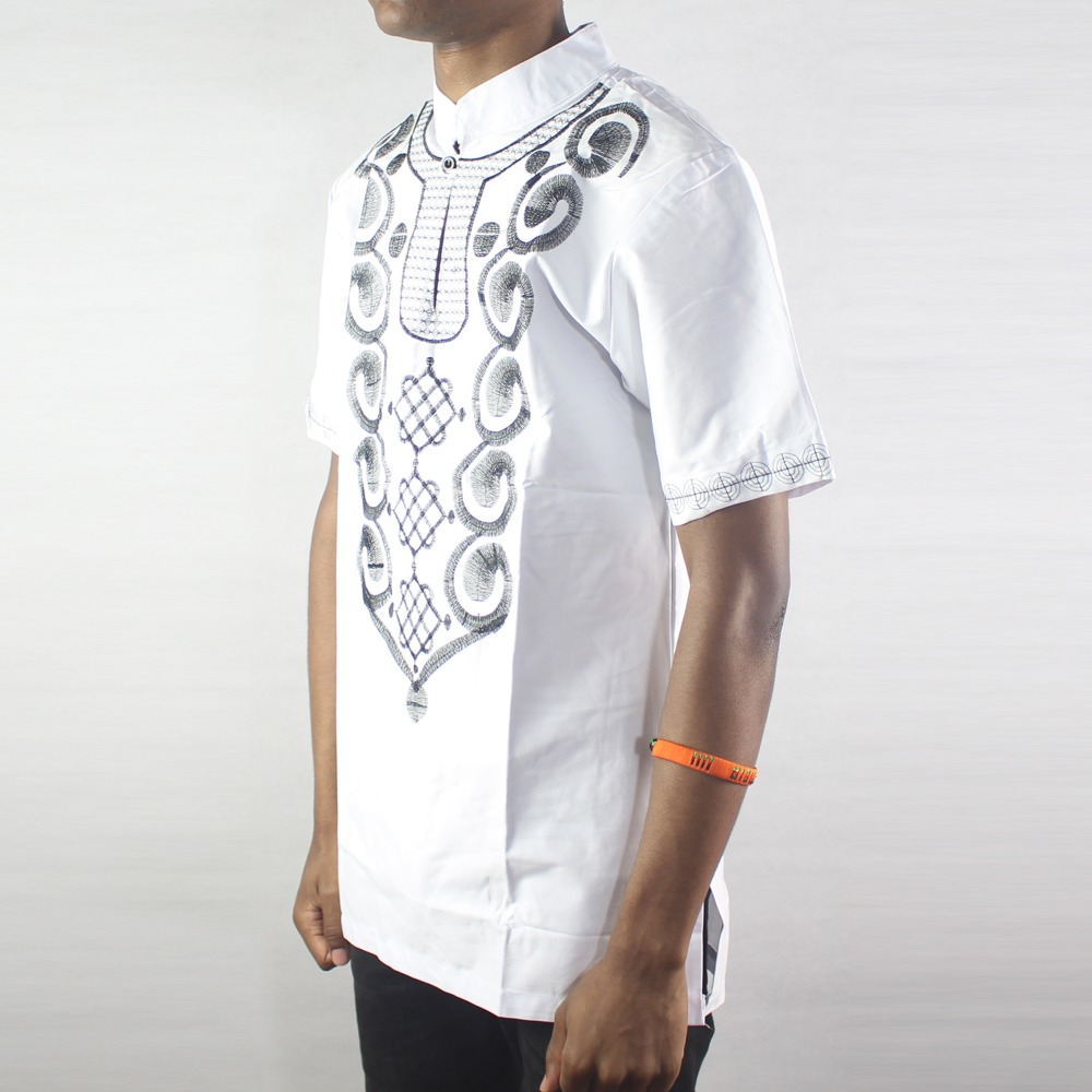 Africa White Ethnic Culture Embroidery men s Tops Male Short Sleeved Kaftan Shirts for Summer in Polo from Men 39 s Clothing