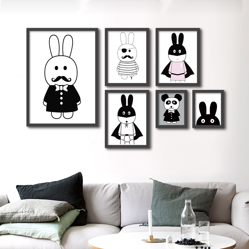 ୧ʕ ʔ୨Blanco Negro Nórdico minimalista animales lienzo pintura A4 ...
