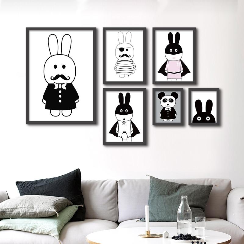 Modern Minimalist Nordic Black White Animals Canvas Painting A4 No Frame Art Print Poster Kids