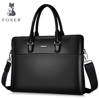 FOXER Men Business Briefcase Genuine Leather Handbag Work Shoulder Messenger Bags Top Quality Laptop Bag Crossbody Bag for Women