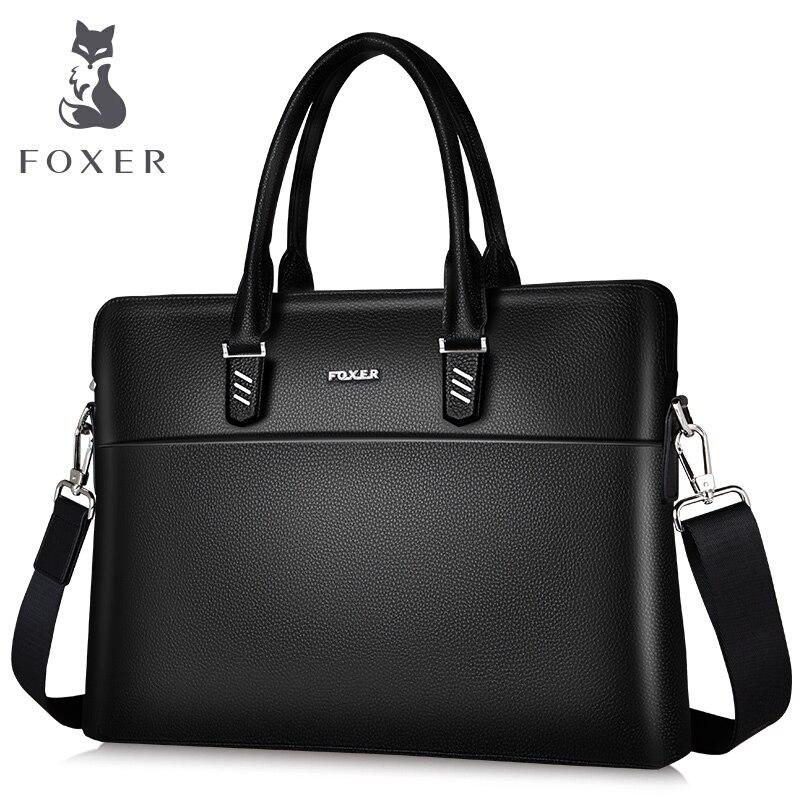 FOXER Men Business Briefcase Genuine Leather Handbag Work Shoulder Messenger Bags Top Quality Laptop Bag Crossbody Bag for Women