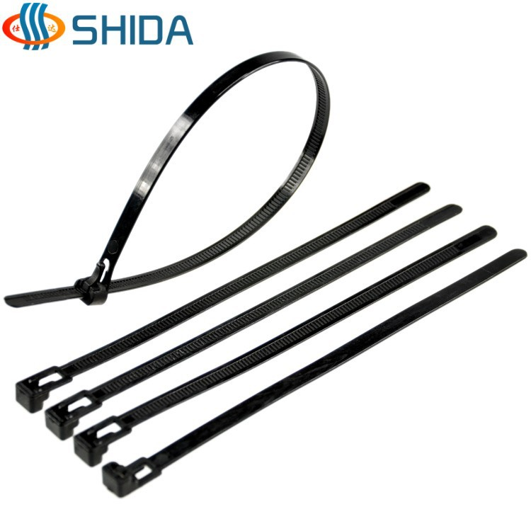 5726fa04674c 50 pcs 8 x 450 mm Black and White Releasable Nylon Cable Ties Plastic Zip  Ties for Computer Wire Management