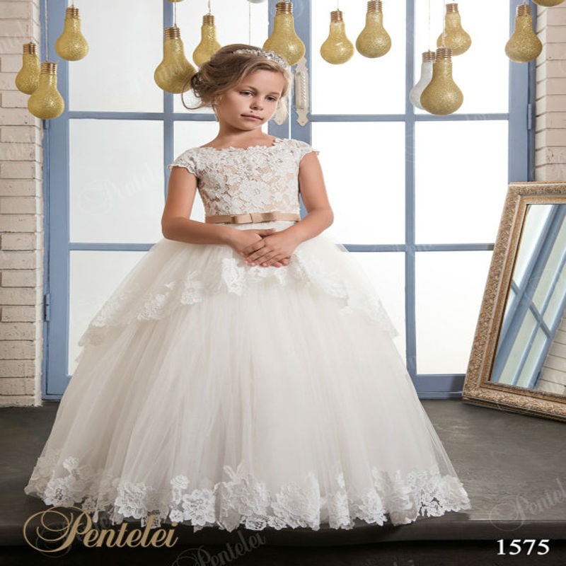Ball Gown Flower Girls Dresses For Wedding Tulle Girl Birthday Party Dress Long Spring Pretty Mother Daughter Dress With Sashes