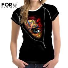 FORUDESIGNS Black t-shirt Women Summer Fake Zipper t shirt Womens Clothes 3D Skull tee Eyes Horror Retro Stlye Tops Femme