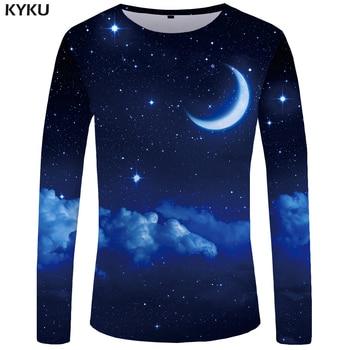 KYKU Moon Long sleeve T shirt Star Funny T shirts Night Sky Tshirt Space 3d T-shirt Clothing Tees Men Casual Top Tee Mens