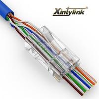50 Pcs Lot Cat5 Cat5e Network Connector 8P8C Rj45 Metal Cable Modular Plug Terminals Have Hole