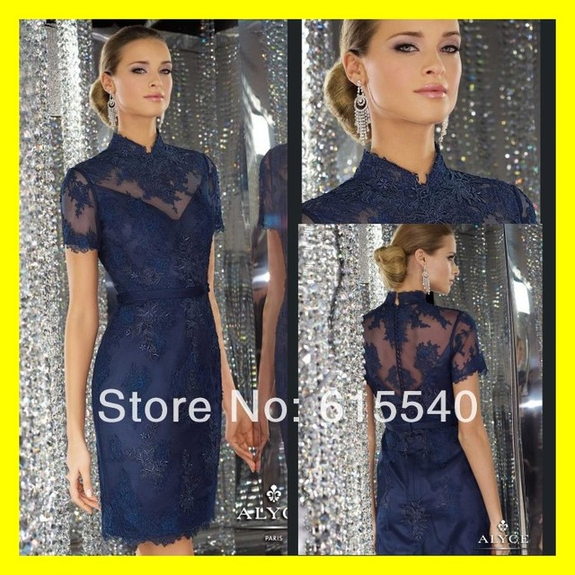 Grandmother Of The Groom Dresses Tea Length Mother Bride Plus Size Navy Dress Built In
