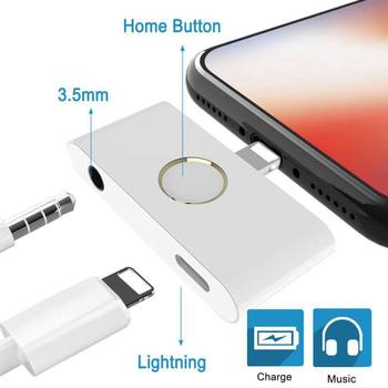 New External Home Button Audio Converter with Home Button for iPhone, 2-port Plug-and-play Music Charging Connector Adapter
