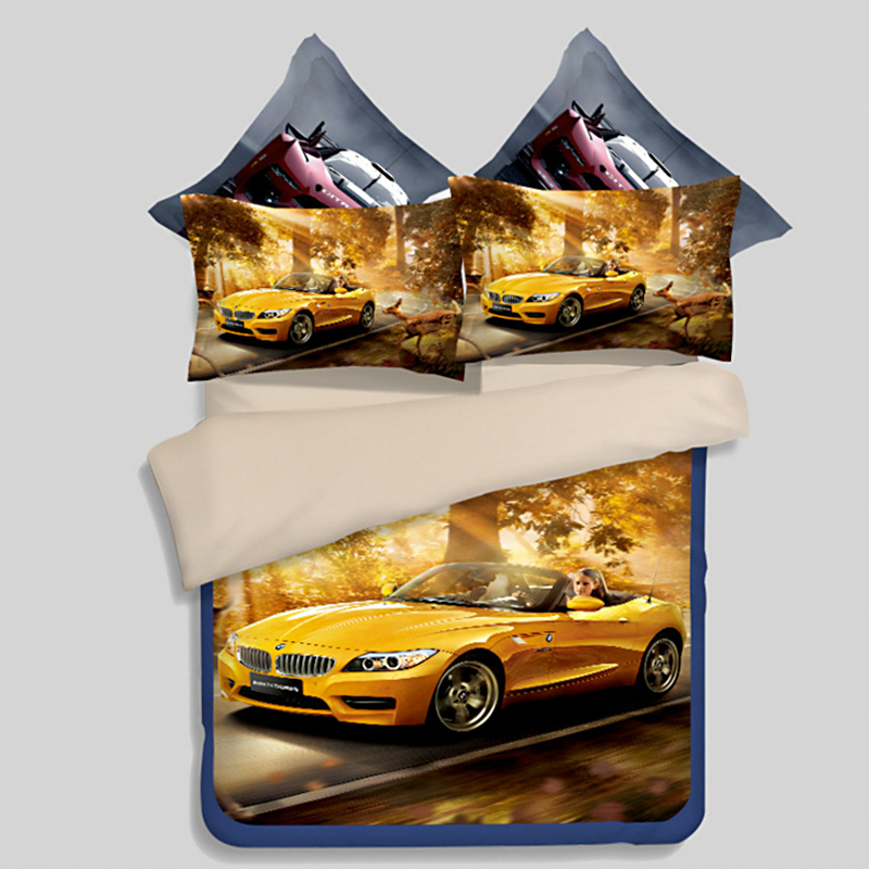 3D Car Cover Bedding Set Twin Full Queen King Size Bed Sheets Bedspread  Bright Colored Childrenu0027s