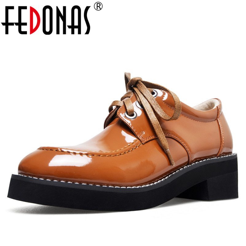 FEDONAS 2019 Women Pumps Fashion Round Toe High Heels Rome Shoes Woman Lace Up Autumn Martin Shoes New Genuine Leather Pumps fedonas women pumps fashion sexy pointed toe lace up high heel women shoes woman retro euro style pumps female autumn new shoes