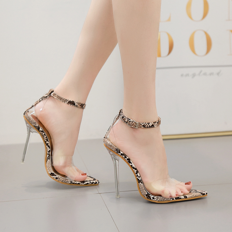 shoes Woman clear Sandals snake prints Peep toe shoes sexy crystal High heels slides hollow Transparent pumps zapatos mujer