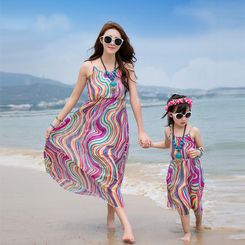 Mom And Daughter Dress 2017 Summer Matching Clothes Wave Family Look Mother  Daughter Dresses Kids Women Chiffon Maxi Dress  In Family Matching Outfits  From ...
