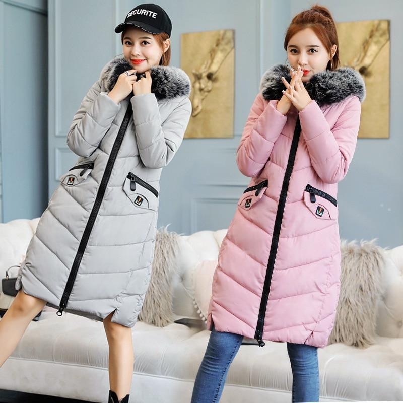 New Hooded Fur Collar Winter   Down     Coat   Jacket Long Thick Warm Slim Women Casaco Feminino Abrigos Mujer Invierno 2018 Parkas 801