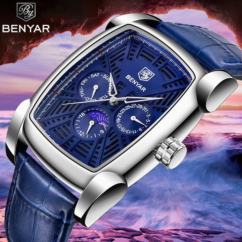 2019 New Men's Watches BENYAR Top Luxury Brand Casual Quartz Watch Men Waterproof Fashion Leather Sport Watch Men Reloj Hombre