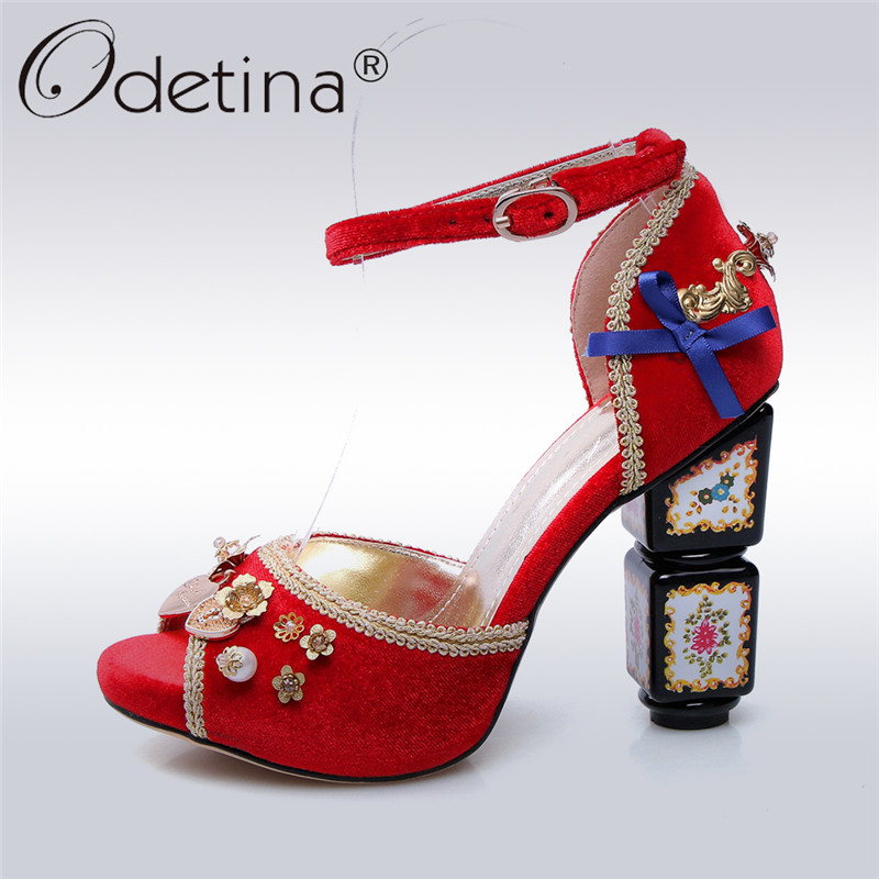 Odetina 2018 New Brand Luxury High Heels Peep Toe Women Pumps Flower Pearls Buckle Ankle Strap Pumps Fashion Wedding Party Shoes new design women ladies handcrafted strange heel shoes flower leather buckle strap peep toe fashion party prom pumps xd433