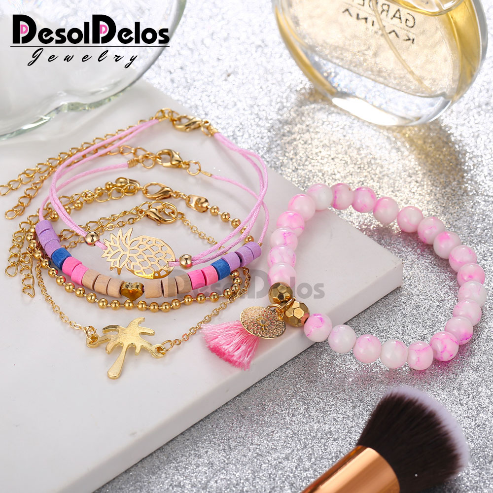Gift for Women Bracelets Bangles Jewelry Bohemian Pink Wood Bead Gold Heart Pineapple Tassel Strand Pulseras Mujer 5PCS in Charm Bracelets from Jewelry Accessories