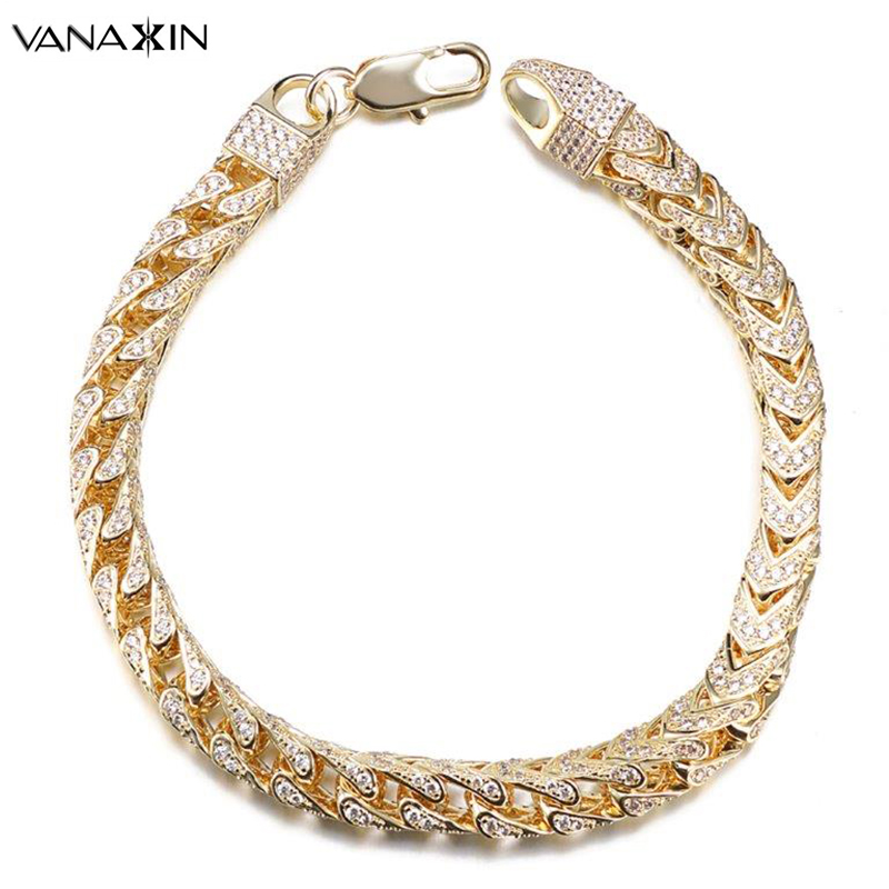 VANAXIN Mens Bracelet Hiphop Iced Out Franco Box Link Chain Gold Silver Color Paved CZ Clear Rhinestones High Quality Jewelry