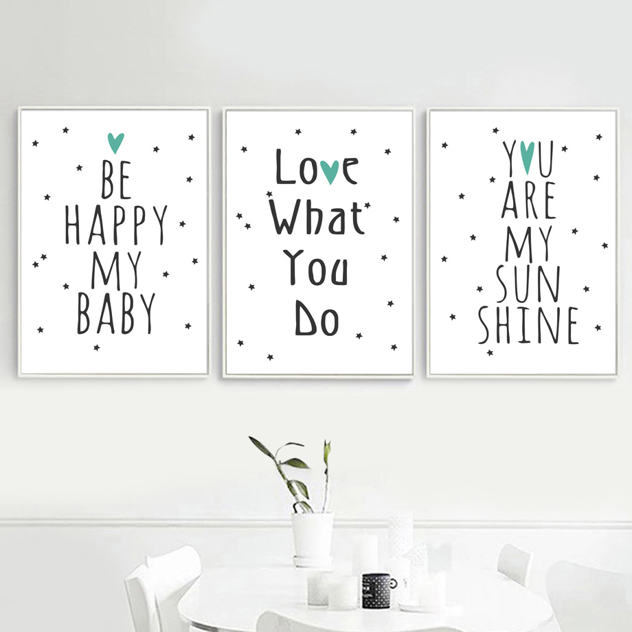 Cartoon liefde baby motiverende quotes kunst aan de muur canvas schilderij nordic posters en prints muur foto's voor kinderkamer home decor