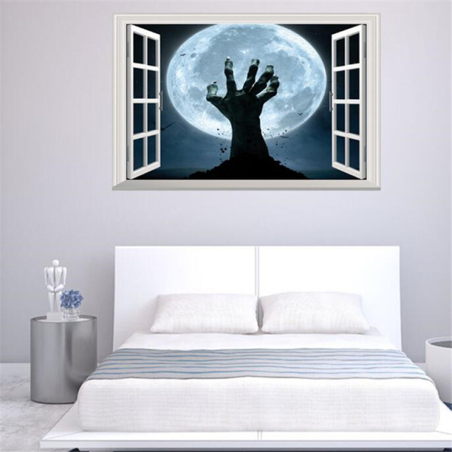 IDFIAF Happy Halloween Zombie Hand Living Room Vinyl Carving Wall - Vinyl wall decals home party