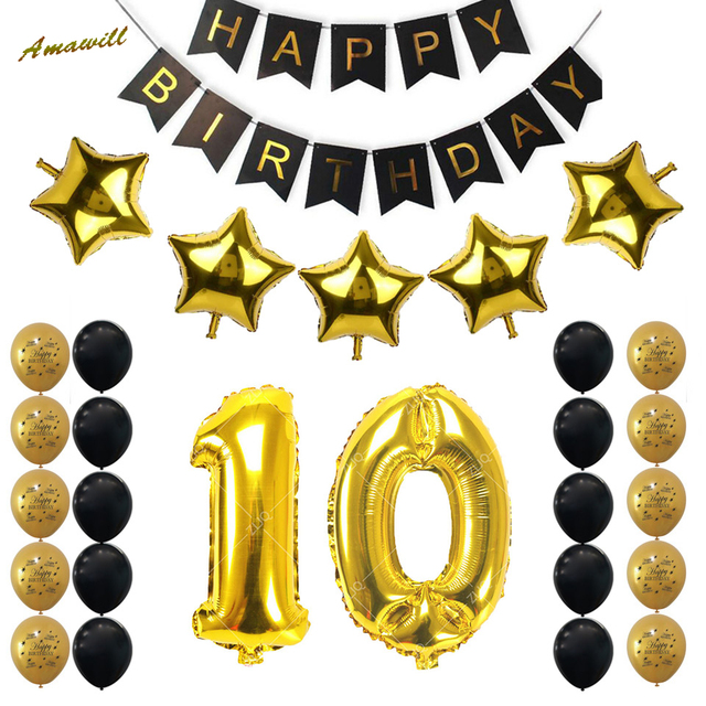 Amawill 10th Birthday Party Decoration Kit Happy Banner Gold Black Balloon Perfect Years Old