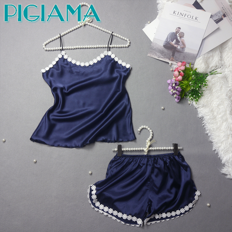 PIGIAMA Summer   Pajamas     Set   For Women Babydoll Clothes Flower Lace Tops And Shorts Silk Stain Pyjamas Sleepwear Homwear Suits