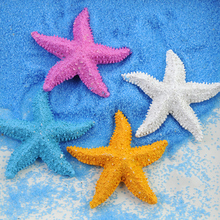 Exquisite Ornament Simulation Resin Starfish Blue Sand White Stone DIY Beach Craft Photography Prop for Wedding Party Decoration